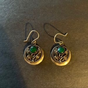 Jewelry - Silver earrings with green semi precious stone